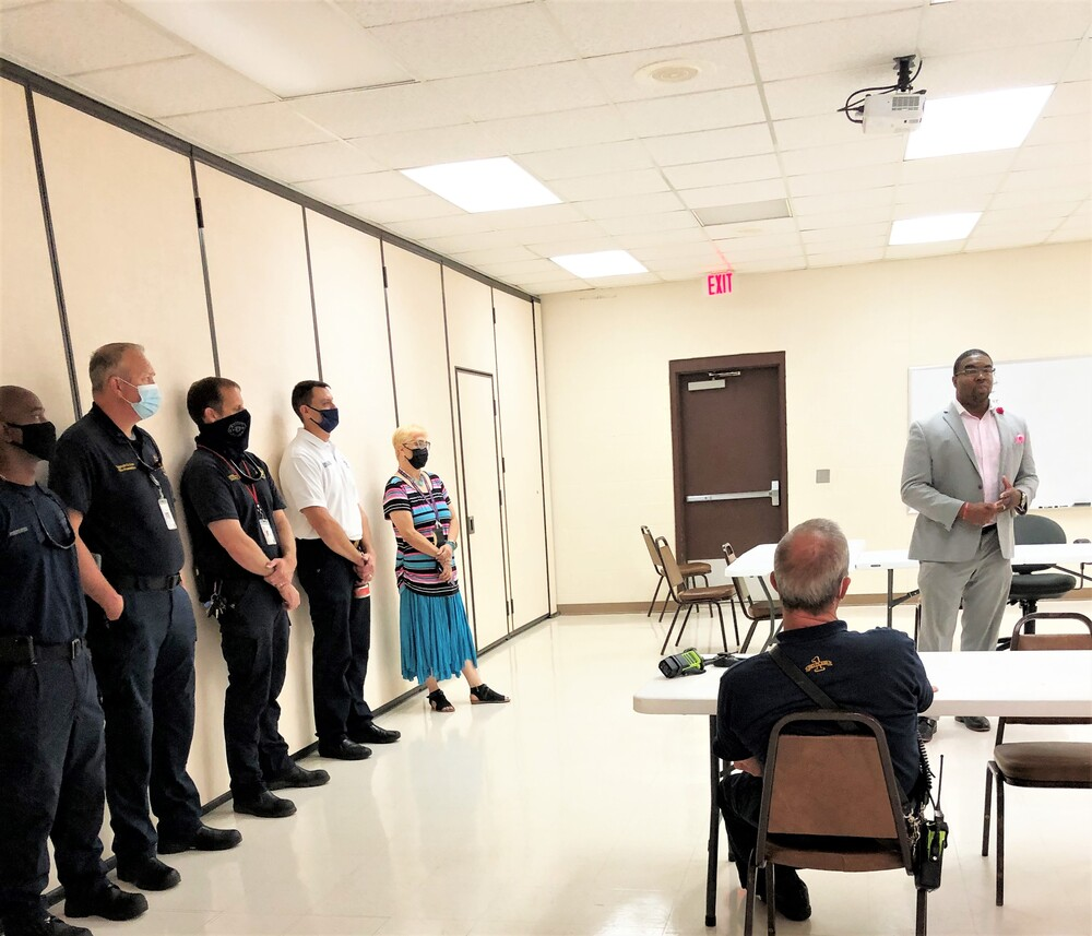 Dr. Michael Threatt, Chief Operating Officer speaks with Dothan Fire Department